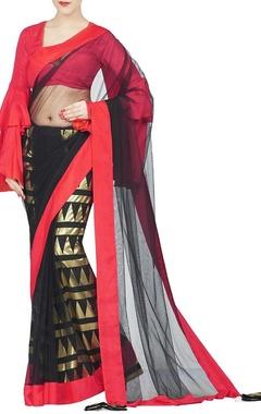 Black, red & gold cone foil petticoat sari