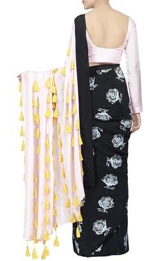 Black & baby pink fringe sari