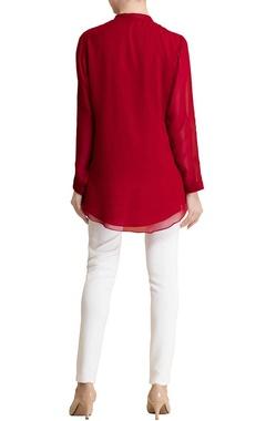 red motif printed shirt