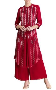 Red & white embroidered tunic