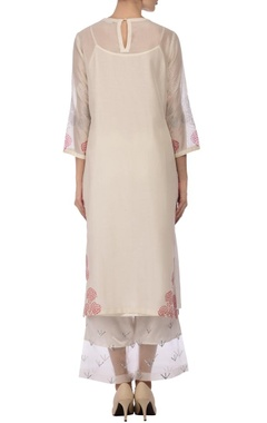 white & red motif mirror embroidered kurta set
