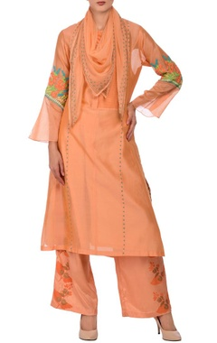 Peach flower motif embroidered kurta palazzo set