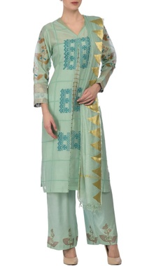 Aqua & gold floral printed & embroidered kurta set