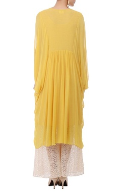 Yellow & ivory embroidered flared tunic