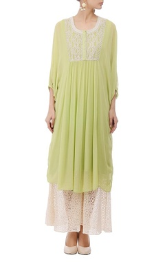 Leaf green & ivory embroidered tunic
