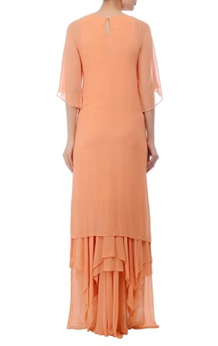 Peach embellished layered maxi dress