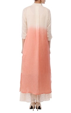 Ivory & rose pink shaded embroidered tunic
