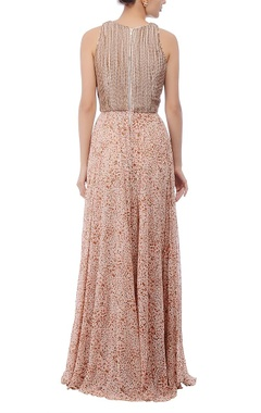 White, pink & brown printed & embroidered maxi dress