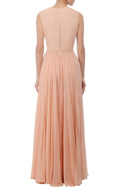 Ivory & peach embroidered maxi gown