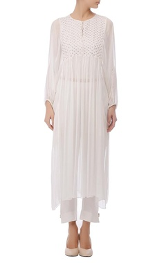 Ivory embroidered & gathered tunic