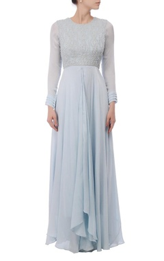 Powder blue embroidered maxi dress