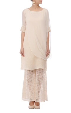 Ivory embellished layered tunic