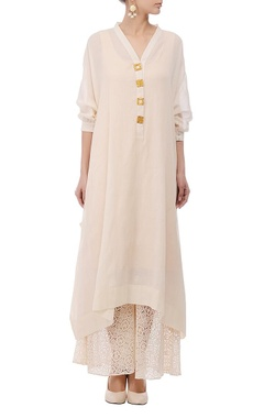 Ivory & gold embellished flared tunic