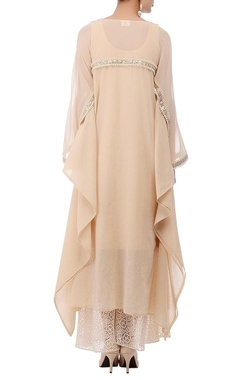 Pale beige embellished flared tunic