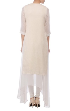 Ivory & silver embellished layered kurta set