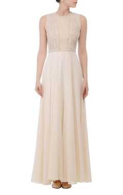 Cream embroidered maxi gown