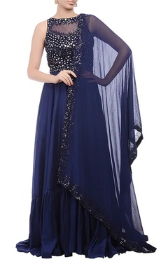 Navy blue embellished yoke anarkali set