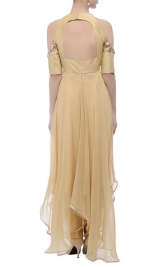 Beige cold-shouldered gown