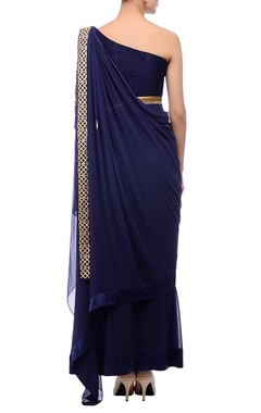 Blue embroidered sari gown