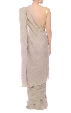 Grey textured handwoven sari