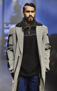 Black & white zigzag leather overcoat