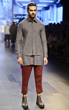 Vaibhav Singh Ash grey layered shirt