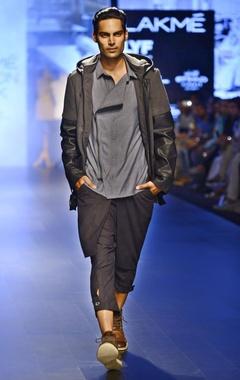 Dark grey & black leather hooded jacket