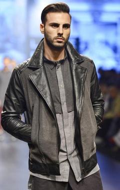Black & grey quilted biker jacket