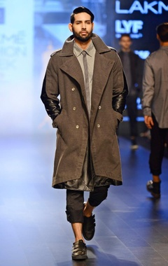 Vaibhav Singh Charcoal grey & black leather trench coat