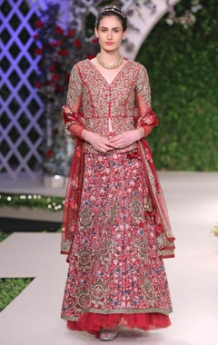 maroon floral embroidered lehenga set