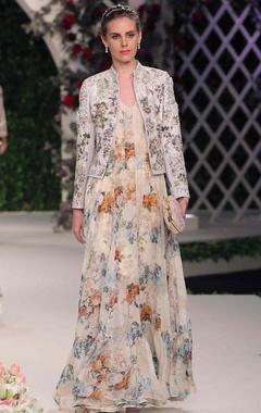 ivory raw silk floral jacket, anarkali & churidar
