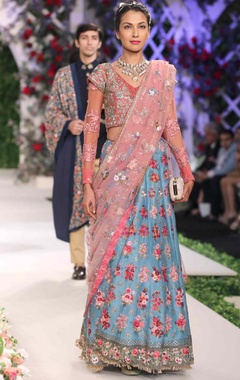 powder blue & old rose embroidered lehenga set