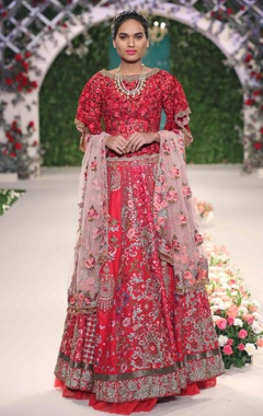 red floral embroidered motifs lehenga set