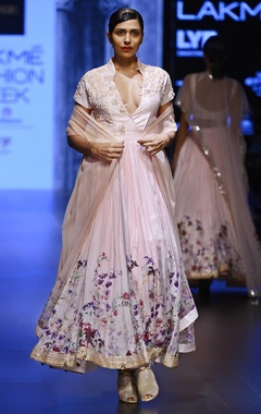 light pink floral motif anarkali set