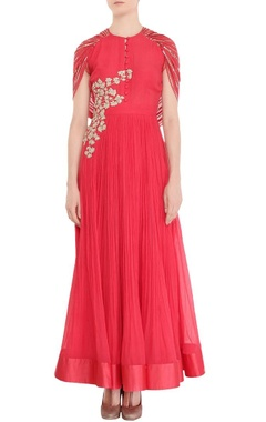 Blush red anarkali with cape
