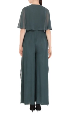Forest green jumpsuit with reverse cape