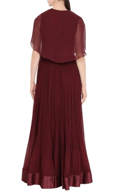 Wine red pleated anarkali with cape