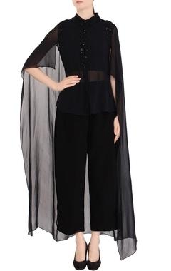 Black embellished cape shirt & pant