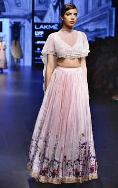 Light pink embroidered lehenga set with cape