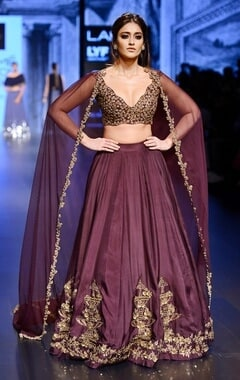 eggplant & gold embroidered lehenga set