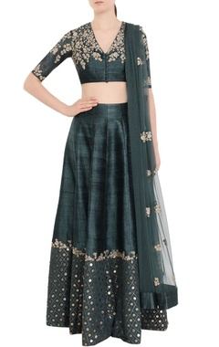 Dark green & gold embellished lehenga set