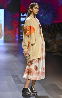 knit beige cardigan with floral motif