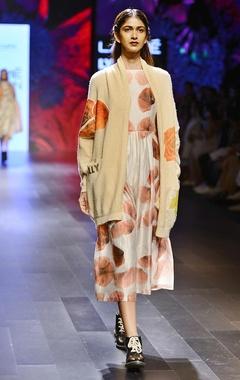 Ivory & orange floral printed jumpsuit