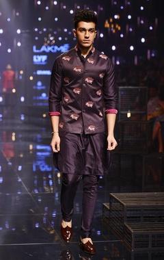 Purple silk kurta,churidaar & bandi