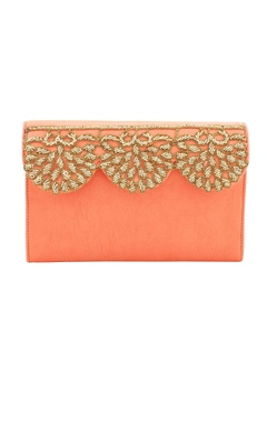 salmon orange japanese glass beadwork clutch
