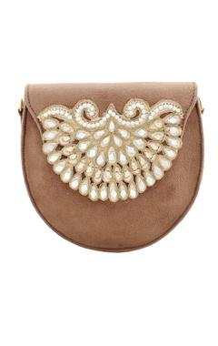 Rossoyuki brown japanese beadwork round clutch