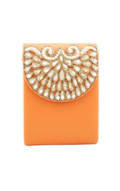 Rossoyuki orange japanese beadwork clutch