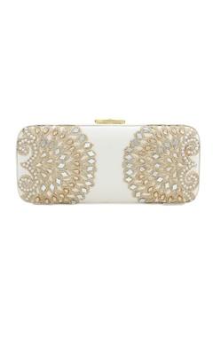 White japanese beadwork box clutch