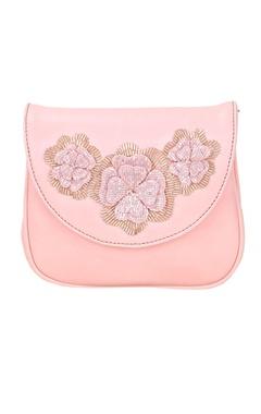 Rossoyuki blush pink japanese beadwork embellished clutch