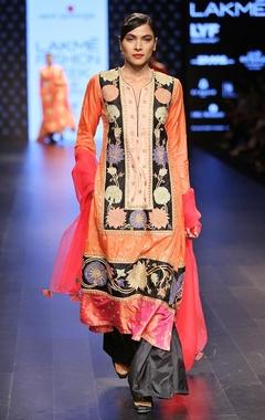 Swati Vijaivargie Rust embroidered kurta pants set